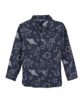 Andy & Evan Allover Galaxy-Print Button-Down Shirt, Size 2-7