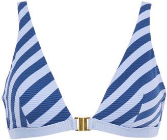 Duskii Striped Stretch-pique Triangle Bikini Top