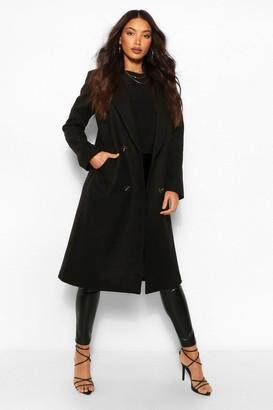 boohoo Tall Double Breasted Boyfriend Wool Look flannel Coat