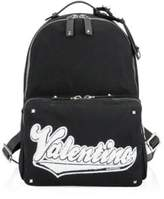 Valentino Patched Logo Canvas Backpack