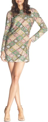 Dress the Population Kensie Patchwork Sequin Long Sleeve Minidress