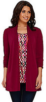 As Is Susan Graver Liquid Knit 3/4 Sleeve Cardigan with Printed Tank