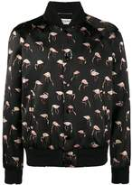 Saint Laurent Pink flamingo print bomber jacket