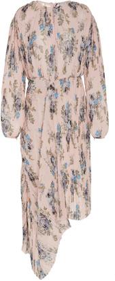 Preen by Thornton Bregazzi Delaney Draped Floral-Print Plisse Midi Dre