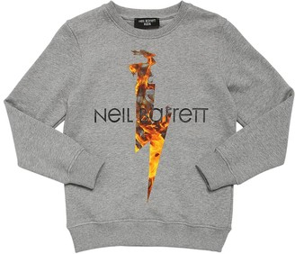Neil Barrett Lightning Bolt Print Cotton Sweatshirt