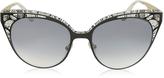 Jimmy Choo ESTELLE/S ENYLF Black Metal Lace Cat Eye Sunglasses