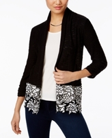 INC International Concepts Petite Lace-Hem Open-Front Cardigan, Created for Macy's