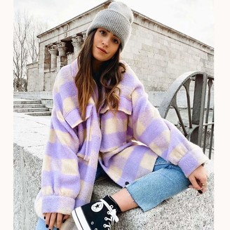 359 Womens Fleece Hooded Open Front Fluffy Plush Sweatshirts Cardigan Coat Ladies Soft Warm Long Sleeve Casual Furry Loose Suits Outwear Jumper Hoody Jacket with Pocket Purple