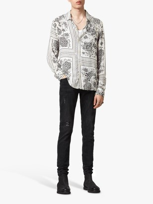 AllSaints Ventura Long Sleeve Camp Collar Shirt, Ecru