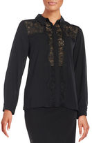 Vince Camuto Lace-Accented Button-Front Blouse