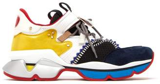 Christian Louboutin Red Runner Suede And Mesh Trainers - Mens - Multi