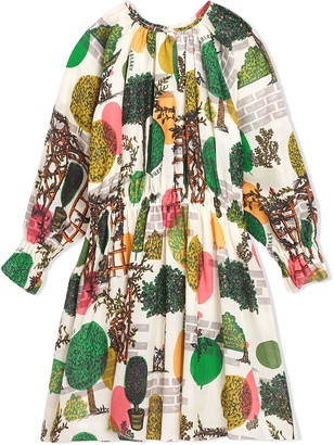 BURBERRY KIDS Tree Print Cotton Silk Dress