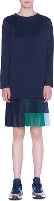 Akris Punto Long Sleeve Pleated Flounce Neoprene Dress