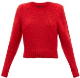 Isabel Marant Idona Padded-shoulder Mohair-blend Sweater - Womens - Red
