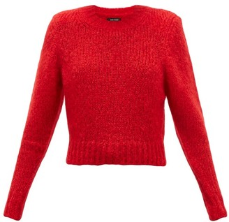 Isabel Marant Idona Padded Shoulder Wool Sweater - Womens - Red