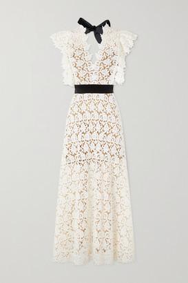 ARTCLUB - Portia Velvet-trimmed Cotton-lace And Silk-organza Midi Dress - Ecru