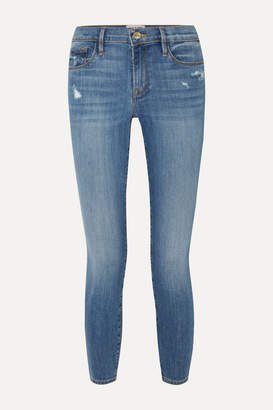 Frame Le Skinny De Jeanne Crop Distressed Mid-rise Jeans - Blue