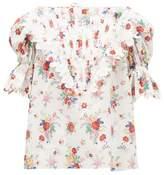 Horror Vacui Charlotte Floral-print Cotton Top - Womens - White Print