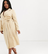 Unique 21 Hero Plus UNIQUE21 Hero Plus wrap midi dress in pinstripe-Cream