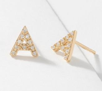 Affinity Diamond Jewelry Affinity 14K Plated Diamond Initial Stud Earrings, 1/10cttw