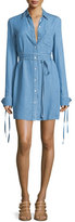 Michael Kors Long-Sleeve Button-Front Shirtdress, Sky Blue