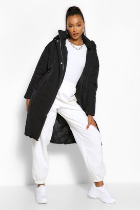 boohoo Tall Hooded Longline Puffer Coat