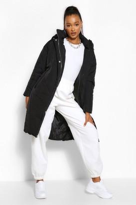 boohoo Tall Hooded Longline Puffer Coat