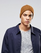 Asos Cable Fisherman Beanie In Mustard Nep