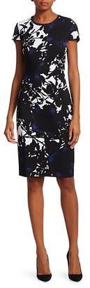 St. John Graphic Floral Jacquard Knit Sheath Dress