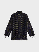 DKNY Silk Embroidered Dot Blouse