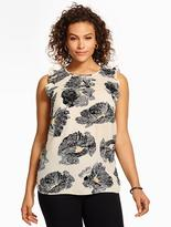 Talbots Flutter-Sleeve Blouse - Graphic Blossoms