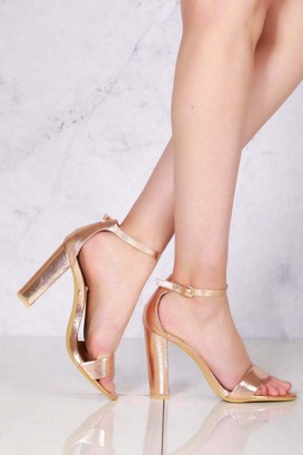 Miss Diva May Barely There Block Heel Ankle Strap Sandal In Rose Gold