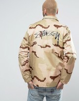 Stussy Coach Jacket In Camo With Back Print