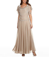 J Kara Plus Faux-Pearl Beaded Gown