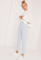 Missguided High Waisted Cigarette Trousers Blue