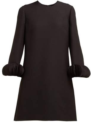 Valentino Chiffon-trimmed Wool-blend Crepe Mini Dress - Womens - Black