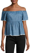 Romeo & Juliet Couture Chambray Off-the-Shoulder Top