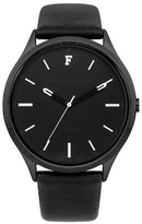 French Connection Kensington Grand Black Leather Strap Watch