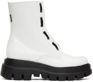 MSGM White Patent Ankle Boots