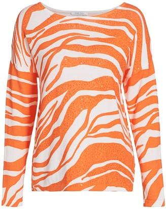 Joan Vass Petite Sequin Tiger-Stripe Cotton Sweater