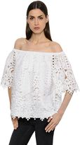 Temperley London Off The Shoulders Macramé Lace Top