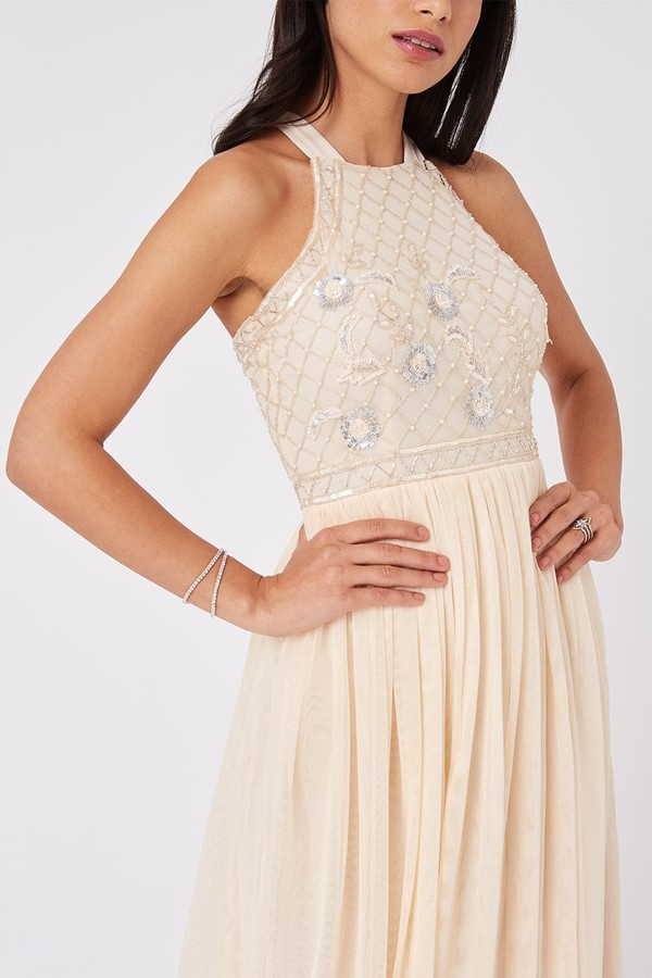 Thumbnail for your product : Little Mistress Ruth Nude Floral Sequin Embellished Maxi Dress