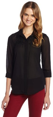 My Michelle Juniors Sheer Flowy Blouse with Lace Detail