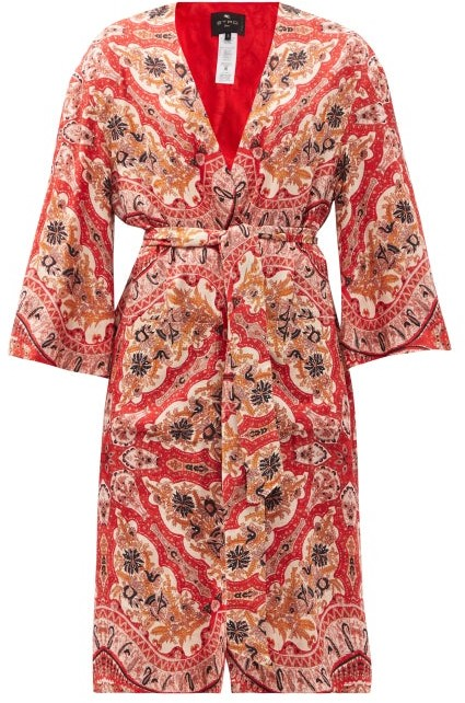 Thumbnail for your product : Etro Ibiza Belted Paisley-print Coat - Red Multi