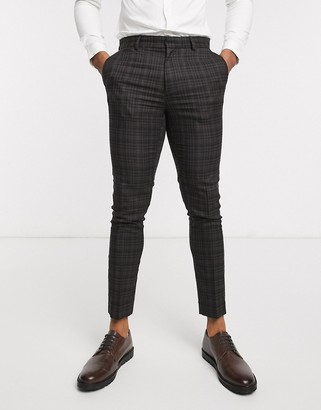 New Look ginger highlight check suit pants in dark brown