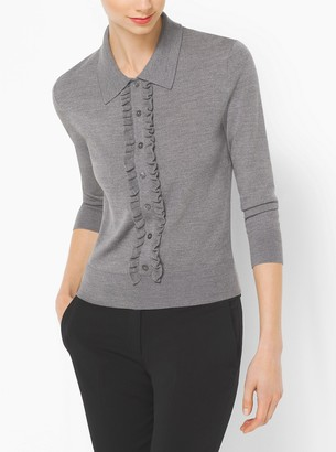 Michael Kors Ruffled Merino Wool Polo Sweater