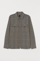 H&M Checked linen-blend shacket