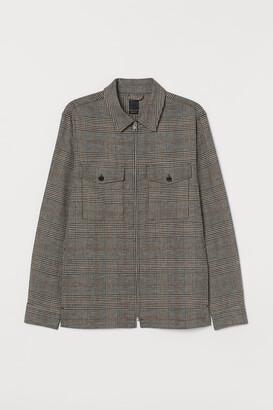 H&M Plaid Linen-blend Shacket