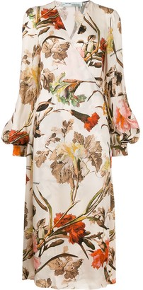 Off-White Floral Wrap Midi Dress
