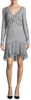 J. Mendel Long-Sleeve Mixed Polka-Dot Dress, Multi